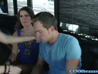 Abby Cross tugging cock with friends