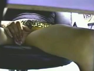 Hidden Cam Under The Desk Catches Girl Masturbatin