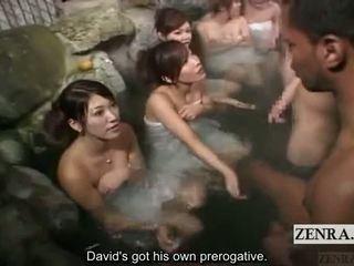 Subtitle wanita berpakaian dan lelaki bogel/ cfnm di luar jepun bathhouse masturbation permainan