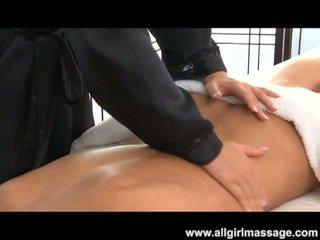 Hot blonde babe massaging horny brunette