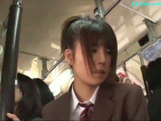 Escritório senhora stimulated com vibrador giving broche em dela knees em o autocarro