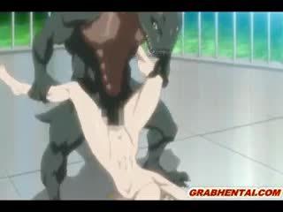 Reusachtig boezem hentai hard poking door monster en creampie