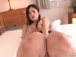 morena, japonês, masturbando