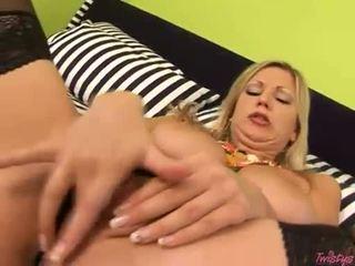 Filthy naked Carol Goldnerova fills her pussy with her wild fingers til she cums