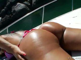 Busty Gina Jolie butt fucked outdoors
