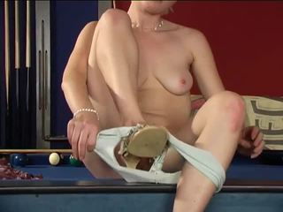 Sultry short haired blondie strips and plays sweet pussy in solo