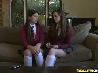 女學生, 熱 校服 滿, 滿 裸體女生 看
