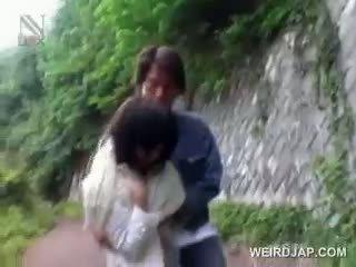 Aziatisch school- pop kidnapped voor seks gets kut opened