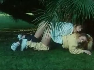Naughty teens fucked outdoors in a vintage scene