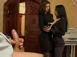Two girls fucking in office with boss angel dark