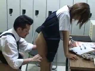 Japanese schoolgirl fucked in school at locker room Video