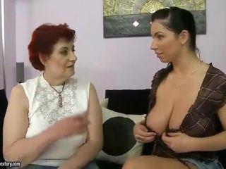 Fat Grandma And Busty Teen Appreciating Lesbo Porn