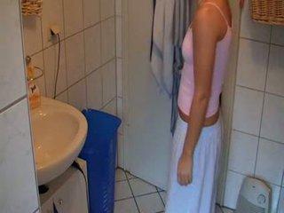 hottie, verrassing, badkamer