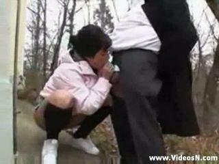 Old man fucks dirty teen girl in the public park