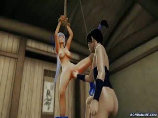 Hogtied 3d girl gets pussy explored