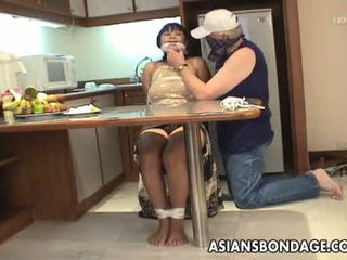 Diwasa brunette with big boobs tied up and groped
