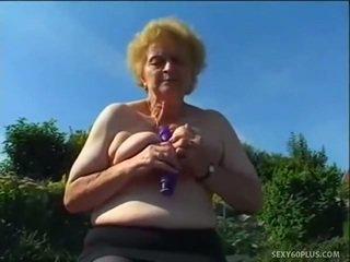 Reif donna drinnen strümpfe has groß joystick
