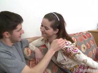Teen gets hot jizz on her body