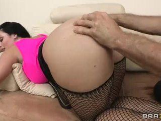 brunette, fishnets, ass fucking