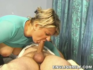 Fabulous blonde MILF sucks big dick in black stockings