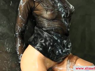 Peak drenched bukkake female slimed