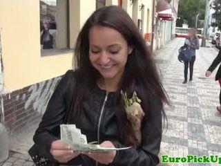 Euro girlnextdoor sucking cock for cash