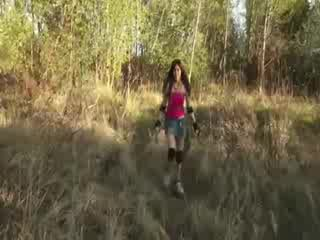 Dirty Hooker on her knees in the woods being fucked