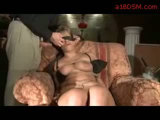 Blindfolded Girl Bondaged Getting Her Mouth Fucked Ass Rubbed And Spanke On The Armchair
