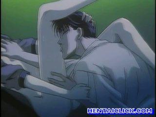 Virgin hentai guy getting hans kuk sucked