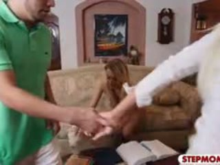 Stepmom Nina Fucking With Teen Couple In The Kitchen
