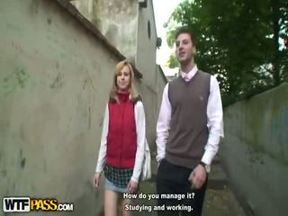 Two Schoolgirls In Plaid Skirts Fucking Old Teacher