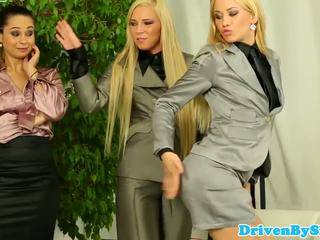Glamour babes assfucked in reverse gangbang