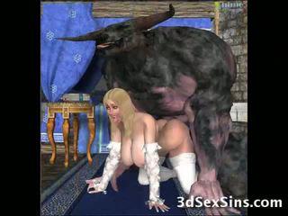 丑 creatures 他妈的 3d 辣妹!