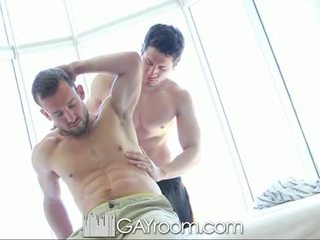 GayRoom Hairy muscle guy fucked after oil mas