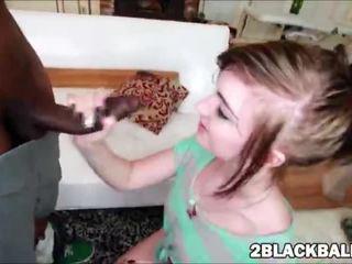 Fresh Alana Rains grabs that monster black dick then sucks and fucks it