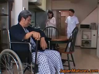 si rambut cokelat, japanese, group sex