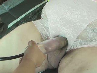 Pantied pumped sounded femdom handjob