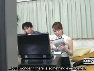 Subtitled ญี่ปุ่น เพศ ของเล่น ผู้หญิงใส่เสื้อผู้ชายไม่ใส่เสื้อ measuring via ใช้ปากกับอวัยวะเพศ