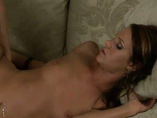 Addison rose gets screwed บน เธอ ขนเยอะ pie บน the โซฟา