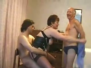Fat mature woman fucked by three guys