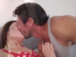 brünett, suudlemine, sõrmestus