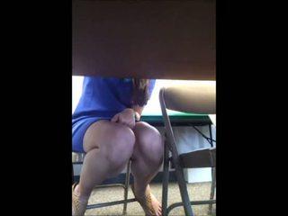 View Teacher Under Table Upskirt!