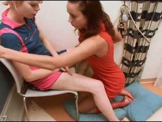 Tickling pussy in a bathroom
