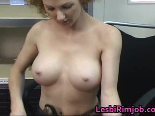 Redhead LesBian Wench Acquires Booty Licked At The Office
