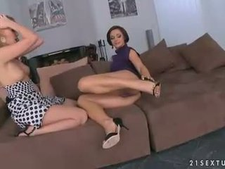 Two lezzie lovelys play with pussy till it squirts its load on the floor