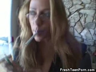 Smoking Teenager Has Caught And Toys Horn