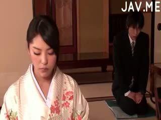 japonais, pipe, éjaculation, cul