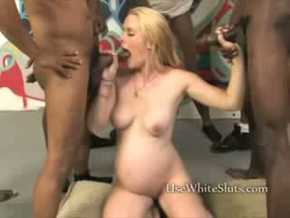 Nine months white girl interracial Gangbang all holes used