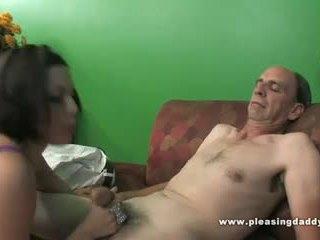Grandpa fucks a skinny slut with tiny tits