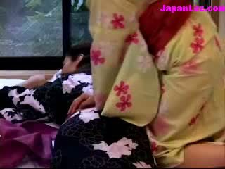 asian Girl In Kimono Getting Her Melons And puss Rubbed On The Mattress